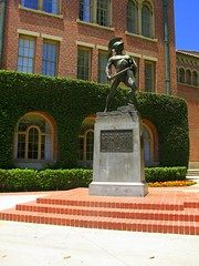 Tommy Trojan (youneverknowphotography) Tags: california flowers brick shrine tommy southern sword warrior usc trojan bushes flexing shied