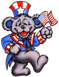 Grateful Dead Uncle Sam Dancing Bear ... does it kinda look like Jerry?  No, not Jerry Seinfeld -- Jerry Garcia!?