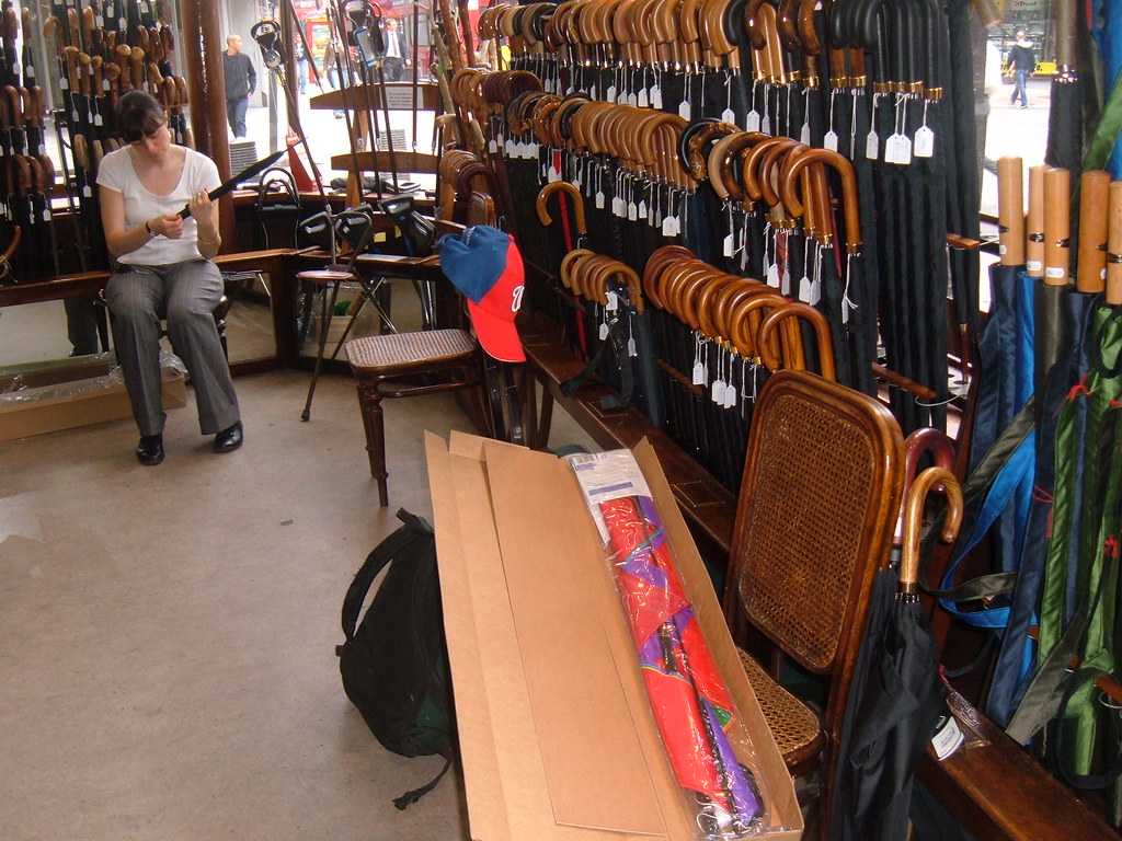 London umbrella store, kite box