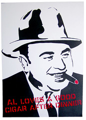 Al loves a good cigar (~Brando~) Tags: chicago gangster stencil cigar mob popart spraypaint mafia alcapone scarface capone