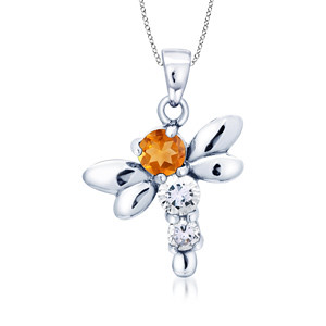 18k White Gold Citrine and White Topaz Butterfly Pendant
