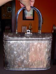 Gray marbled plastic box purse (yardsalebloodbath) Tags: vintage purse boxpurse vintagepurse