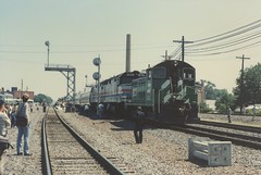 Burlington Northern EMD yard switcher performing Amtrak terminal operations. Galesburg Illinois USA. June 1985.