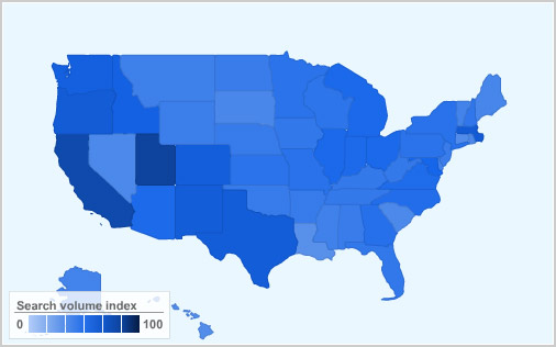 Linux popularity map USA