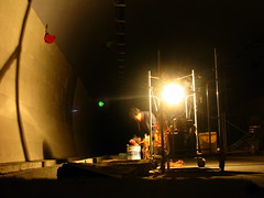 Expressway construction worker at work in tunnel on G70 expressway east of Xian, Shaanxi Province, China