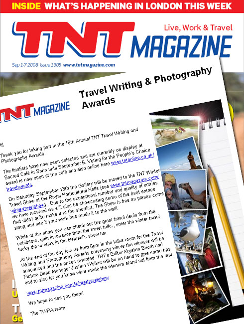 18th Annual TNT Magazine Travel Writing and Photography Awards Finalist