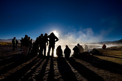 Sol de Mañana - Bolivia (Auré from Paris) Tags: travel sky lake southamerica skyline backlight trek shoot photographer altitude bolivia shooting geology laguna thermal altiplano lipez landscaper canoneos5d lipes auré soldemañana