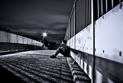 Alone .... (Hussain Naqi) Tags: uk summer bw white black london love me night canon eos blackwhite europe alone photographer sad united kingdom lonely kuwait milton keynes 2008 kw q8 loveme hussain naqi 400d aplusphoto