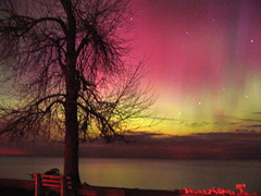 aurora borealis (icolorinthelines) Tags: pink red water yellow lakeontario northernlights rochesterny greeceny capturerochester
