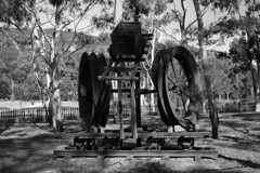 artwork with mine's remains (Val in Sydney) Tags: blue blackandwhite bw mountains artwork mine australia valley nsw megalong vall