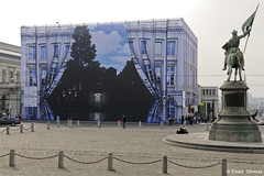The Birth of a Museum (Eliseo Oliveras) Tags: street city brussels urban streetart building art wall museum architecture painting arquitectura europa europe belgium belgique surrealism surreal bruxelles magritte bruselas brussel belgica muralpainting empiredeslumieres eliseooliveras ©eliseooliveras