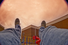 "Day 282/365 ""Apocalypse Swing"" (Hunter Wilson) Tags: portrait sky fall feet photoshop self d50 lens high nikon october raw angle nolan wide swing fisheye wilson hunter 365 2008 hdr wellstone 365days hunterwilson"
