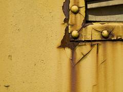 IRM Texture Series 21 (contemplative imaging) Tags: railroad usa yellow museum train vintage illinois rust streak 21 union transport rusty railway trains historic transportation streaked streaks crusty preservation irm mchenrycounty illinoisrailwaymuseum irmtextureseries irm080920ev115
