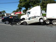 P1020390 (f r a n k l i n) Tags: auto street car wheel truck newjersey crash accident brokenglass tire semi fender impact airbag trailer shattered