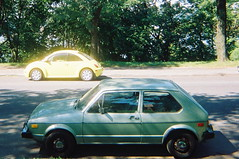 Old Rabbit and New Beetle (smaginnis11565) Tags: rabbit sedan volkswagen newbeetle hatchback vwgolf vwrabbit mark1golf 77rabbit champagneedition velvetseats silvergreenmetallicpaint