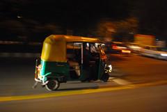 Night Rider! (Enigm) Tags: auto new light shadow color public night speed three high cool good delhi low transport scooter wheeler rickshaw avnish public transport 1855mmf3556gvr
