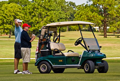 FL - Golf - Discussion at the Club Car - 10-17-08 (mosley.brian) Tags: car golf florida golfing greens clubs greenery fl golfcart stretching golfers clearwater clubcar clearwaterfl donaldross belleviewbiltmore belleviewbiltmoregolfclub donaldrossgolfcourse