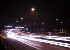 Essingeleden by Night (Hannes R) Tags: road bridge light blur cars car night lights highway sweden stockholm streetlights motionblur freeway essingeleden