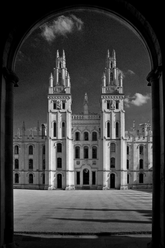 UK - Oxford - All Souls College framed B&W