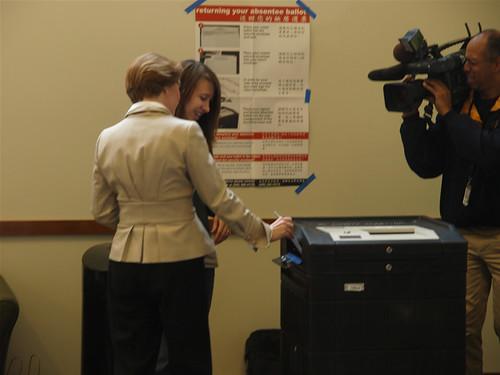 Darcy Burner casts her vote