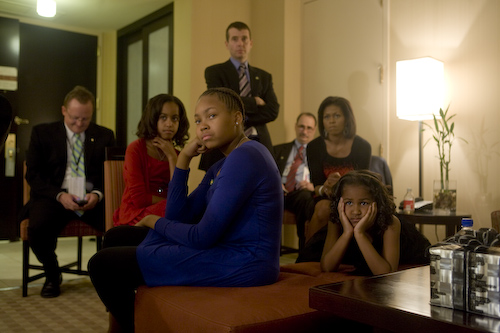Democratic Presidential Nominee, Barack Obama and his family on election night