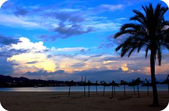 Beach Blues (Dada Mar) Tags: blue winter sea sky españa sun beach clouds dessert island spain blues palm nostalgia lonely mallorca roundcorners