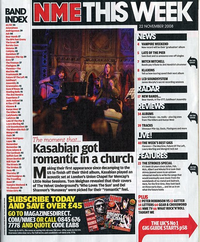 The contents page of NME shares many of the features as the front cover.