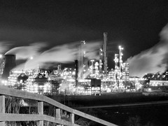 Chemical HDR B/W (Barrie Caveman) Tags: blackandwhite bw industry night dark scotland industrial smoke hell scottish steam pollution bp chemicals refinery hdr grangemouth skislope centralscotland petrochemicals ineos polmonthill