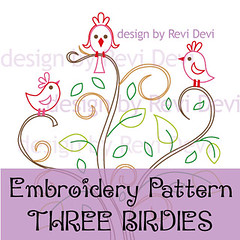 three birdies (revi1001) Tags: tree bird nature birdie design pattern embroidery etsy whimsical brench