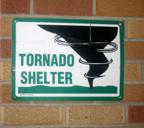 We had to spend some time in the Methodist Church toronado shelter