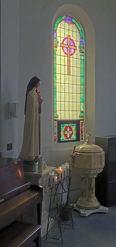 Saint Joseph Roman Catholic Church, in Bonne Terre, Missouri, USA - window and baptismal font