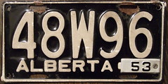"""ALBERTA 1952/53 passenger plate large """"W"""" in the third position (woody1778a) Tags: world auto signs canada cars car sign vintage edmonton photos antique tag woody plate tags licenseplate collection number photographs alberta license plates foreign oddball numberplate licenseplates 1952 numberplates licenses rarity cartag carplate carplates autotags cartags autotag foreigns alpca pl8s worldplates worldplate foreignplates platetag"""