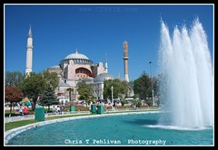 Hagia Sophia (Ayasofya) (CTPPIX.com) Tags: trip church fountain museum canon turkey urlaub turkiye bluesky istanbul mosque hagiasofia minarets turchia ayasofya minare turkei 40d ctpehlivan wwwctppixcom