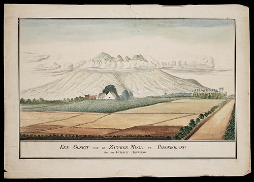Een Gesigt van de Zuyker mool te Pasoeroeang met het Gebergte Artjoeno