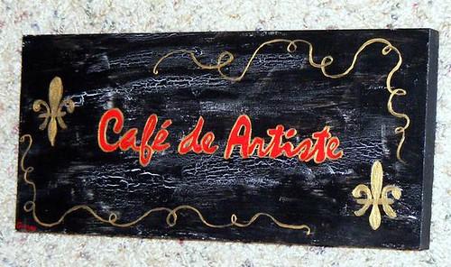 Cafe de Artiste Wood Sign