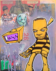 "*SOLD* ""T.V. Junkie""-canvas (SEAMO ONE) Tags: streetart art aka graffiti tv stickers paintings canvas urbanart memes lowbrow gba seamo diar sinik 2vk tvjunkies"