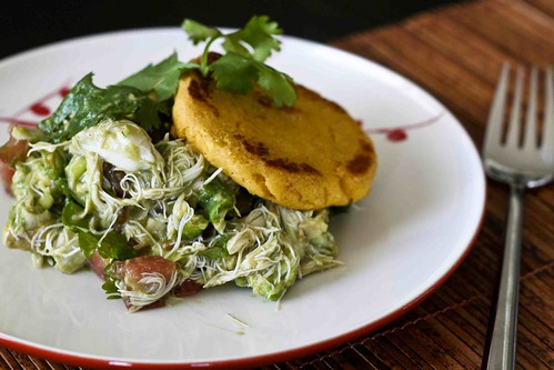 arepas w/crab & avocado salad
