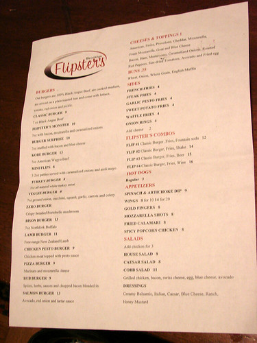 Flipsters Menu front