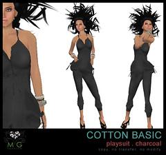 [MG fashion] Cotton Basic Playsuit (charcoal)