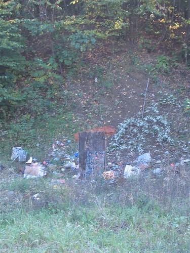 Field of target practice debris