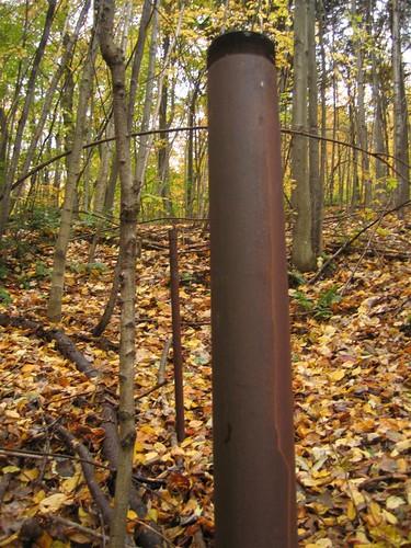Steel bollard on the downhill trail