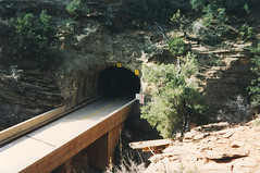 Zion National Park (St. George, Utah) (aimeedars) Tags: mountains nature beauty landscape march nationalpark hiking 1996 tunnel hike environment zion soutwest zionnationalpark canyons americansouthwest