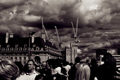 Babel (Hayrr) Tags: city bridge sky urban blackandwhite london skyline sepia clouds canon 50mm citylife centrallondon ctreet 400d aplusphoto