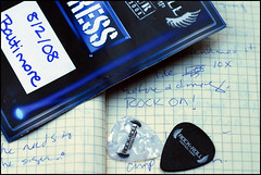 #189: souvenirs (dogfaceboy) Tags: moleskine paper notebook grid souvenirs graph autograph pick picks rockandroll plectrum rockon kipwinger guitarpick presspass rockcamp project365 rockrollfantasycamp project365189 project3653aug08