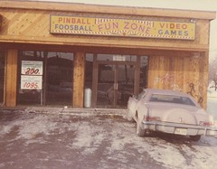 The Fun Zone pinball and video arcade. Located in a small strip mall just west of the intersection of South Archer Avenue and Pulaski Road, in Chicago's Archer Heights neighborhood. January 1980. ( Gone.)