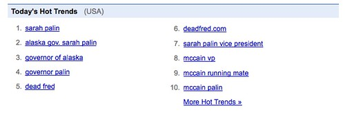 Google Trends: McCain Palin