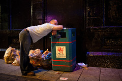 A nap - Cardiff, UK (Maciej Dakowicz) Tags: street city uk man wales night nap sleep cardiff bin alcohol nightlife carolinestreet stmarystreet