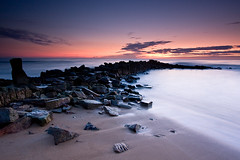 Kingsbarns Harbour Sunrise (David Kendal) Tags: longexposure seascape beach sunrise dawn harbour fife seawall shore seashore gloaming kingsbarns eastneukoffife standrewsbay spectacularsunsetsandsunrises