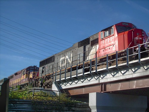 Canadian National freight train waiting on a hold order . Schilller Park Illinois. October 2007. by Eddie from Chicago