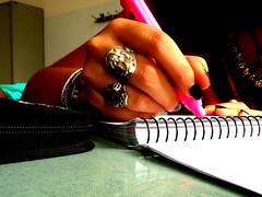 BANANAS SCHOOL (*Naig*) Tags: macro pen writing hand fingers mano penna scuola sfide photoamatori